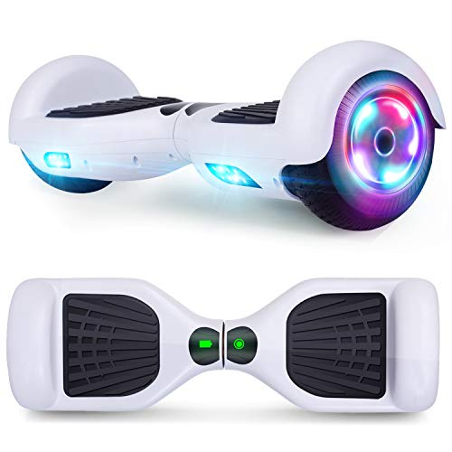 UNI-SUN 6.5' Bluetooth Hoverboard for Kids, Self Balancing Hoverboard with Bluetooth and LED Lights for Adults, Kids Bluetooth Hover Board (Classic White(no Bluetooth))