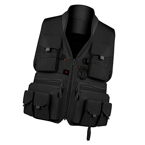 Toygogo Fotografie Weste Anglerjacke Ärmellos Outdoorjacke Jagdweste Arbeitsweste mit Rückentasche für Damen oder Herren - Schwarz XXXL