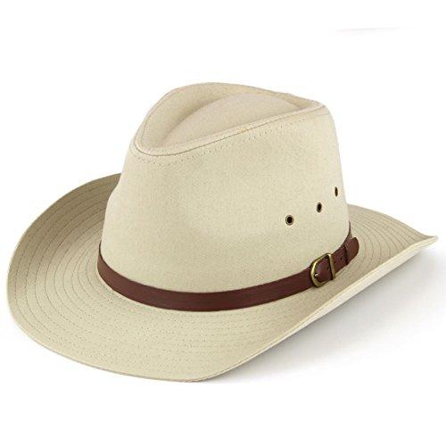 Hawkins Hut mit breiter Krempe, mit Belüftungslöchern, Schwarz oder Beige Gr. 59 cm, beige
