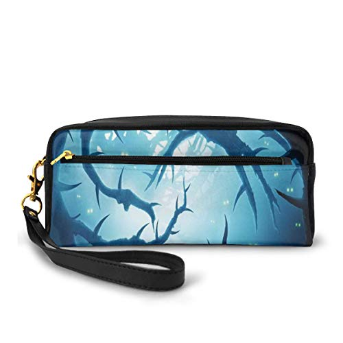 Pencil Case Pen Bag Pouch Stationary,Animal With Burning Eyes In The Dark Forest At Night Horror Halloween Illustration,Small Makeup Bag Coin Purse
