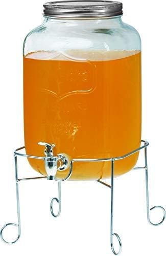 Clic-And-Get Getränkespender mit Hahn 4L 5L 8L Glas Enjoy mit Ständer und Zapfhahn Wasserspender Limonadenspender Saftspender Dispenser Trinkspender (5 Liter, Glance Spender + Standfuß)