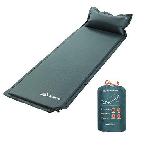 Semoo 寝袋用マット パッド 膨張キャンプスリーピングマット/パッド、クイックフローバルブ、撥水コーティング190Tポリエステル (枕付き、グリーン)