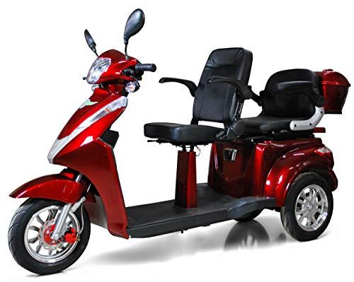 ECO Engel 503 Rot Elektromobil mit Li-Io Akku,1000 Watt, 25 km/h, Seniorenmobil 2 Sitze mit Straßenzulassung E-Scooter E-Roller