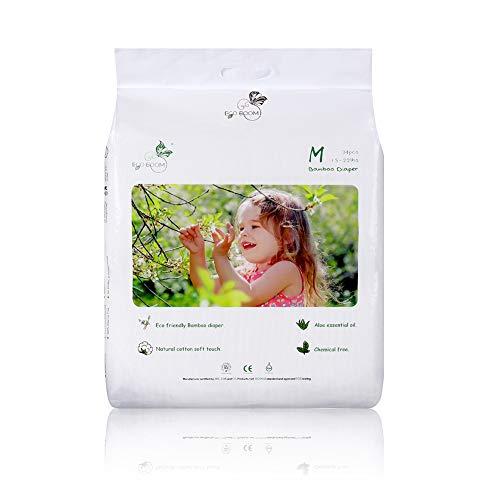 ECO BOOM Pañales Ecológicos, 74 pañales Talla/Tamaño 3 (16-28LB) suministro para UN MES, Pañales biodegradables para bebés de fibras de Bambu Sin sustancias nocivas Pañales Desechables