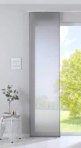 Gardinenbox Schiebegardine »Nizza« Baumwoll-Voile Halbvoile HxB 245x60 cm Grau Transparent Flächenvorhang mit Paneelwagen und Beschwerungsstange, 2019032