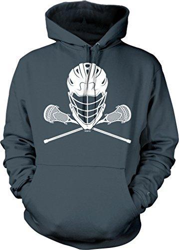NOFO Clothing Co Lacrosse Helmet and Sticks Hooded Sweatshirt, L Char Charcoal