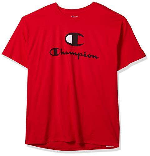 Champion Classic tee Camiseta, Scarlet - Cierre de Logotipo clásico, L para Hombre