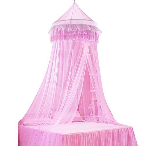 BETOY Prinzessin Moskitonetz aus Spitze Himmelbett-Moskitonetz Spitzen-Betthimmel für Kinder Fliegen und Insekten-Schutz und Dekoration Höhe 250 cm(Rosa)