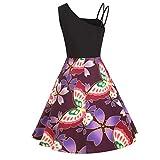 Damen Kleid, Frauen Cocktailkleid ÄRmellos Knielang Rockabilly Kleid Casual Loose Sexy Stitching Gedruckt Big Swing Retro-Kleid Elegant Kleider