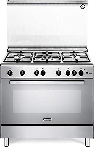 De Longhi DGVX 96 ED - Cucina a gas con forno a gas ventilato, N° 5 Fuochi, 90x60 cm, colore Inox