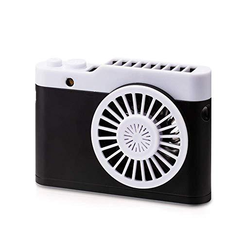 SDHouse USB Handheld Fan Ventilador de cámara Luz Nocturna Aromaterapia Luz Nocturna Cuello Portátil USB Acoplamiento Carga Viaje Lazy Essential (Color:Gris) (Color : Black)