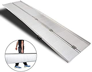 Mefeir 10' Wheelchair Ramp Threshold Portable Ramps,10ft for Home Steps Doorway Stairs Aluminum Handicap Metal House Mobile Porch Temporary Multifold Disable No-Sild Scooter Ramps