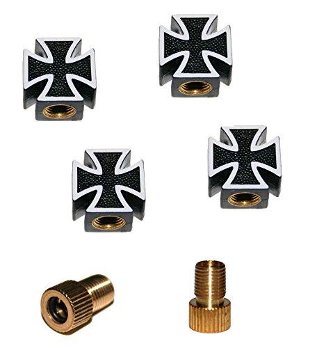 KUSTOM66 6er Ventilkappenset Kreuz (4X Ventilkappe + 2X Adapter) für jedes Fahrrad, Auto und Motorrad geeignet (Schwarz)