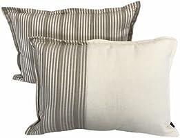 Silk Satin Striped Decorative Pillow & Cushion Cover Set | Mink Satin Color | 2 piece 35 X 50 cm | Ultra-soft decorative...