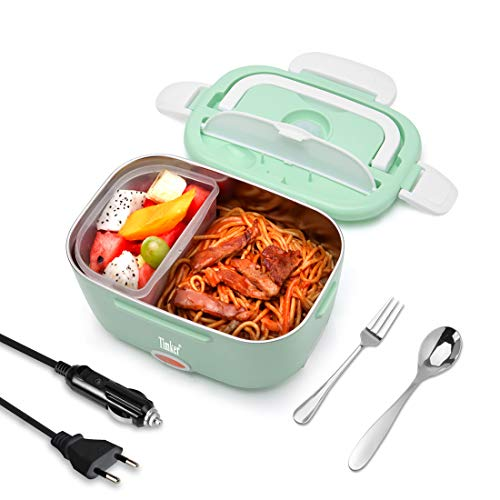 Timker Gamelle Chauffante 12v 24v 220v Lunch Box Chauffante Electrique 3 in 1 Boite Repas Chauffante pour Accueil Voiture Camion,Récipient en Acier Inoxydable De 1,5L - Nouvelle Mise à Niveau