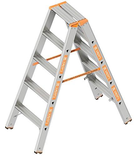 Layher 1043005 Stufenstehleiter Topic 5 Aluminiumleiter 2x5 Stufen 80 mm breit, beidseitig begehbar, klappbar, Länge 1.25 m