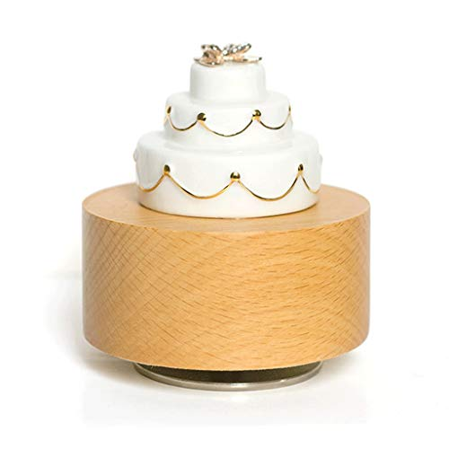 jinyi2016SHOP Caja de Música Torta Giratorio de cerámica Caja de música Niños Hija Festival de Navidad de cumpleaños Caja de música Artware Cajas Musicales decoración (Color : Happy Birthday)