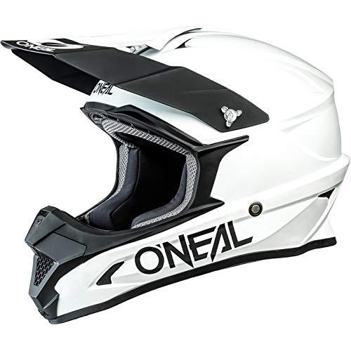 O'NEAL   Casco de Motocross   MX Enduro Motocicleta   Carcasa ABS, Estándar de Seguridad ECE 2205, Ventilación para una óptima refrigeración   Casco 1SRS Solid   Adultos   Blanco   Talla M