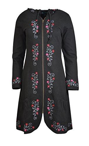 TATTOPANI Damen Reißverschluss geschlossen Jacke mit Stickerei TC-TJK376-BLK-XL