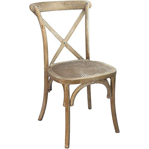 "Flash Furniture Wood Cross Back Chairs, 17.5""W x 21.5""D x 35""H, Natural White Grain"