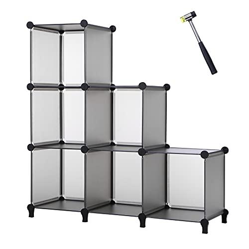 ANWBROAD 6-Cubo Organizador de almacenamiento Armario de Bricolaje Estantería Plástico Modular Estantes Almacenamiento Martillo Goma para Hogar Dormitorio Oficina Sala Gris LCS006H ✅