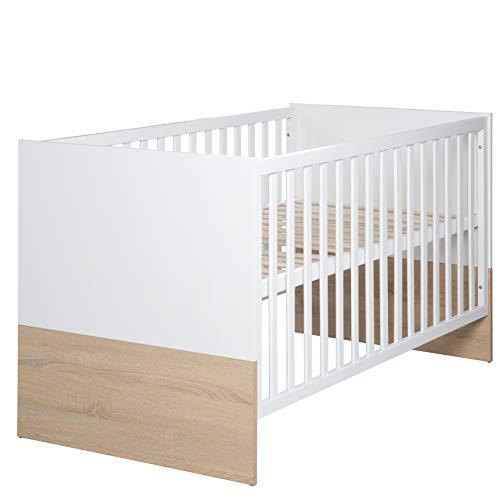 roba Kombi Kinderbett 'Gabriella', 70x140 cm, Babybett bicolor, 3-fach höhenverstellbar, Baby- bzw. Kinderbett umbaubar zum Juniorbett