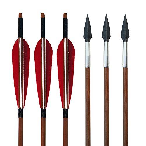 SHARROW 6 Stück Bogenschießen Bambuspfeile mit 5