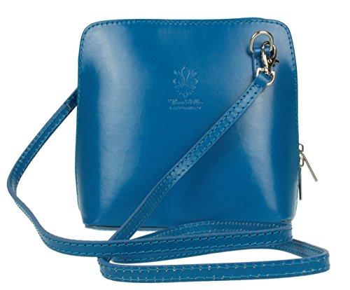 Girly Handbags Echtes Leder Umhängetasche Messenger Schultertasche italienisch Tasche (Himmelblau)
