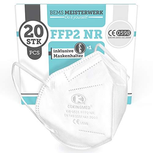FFP2 Maske CE Kennzeichnung - 20x FFP2 Masken (NR) - Inkl. Clip für höchsten 5-lagige Premium Atemschutzmaske FFP2 ohne Ventil für maximale Sicherheit - Mundschutz FFP2 BEMS Meisterwerk