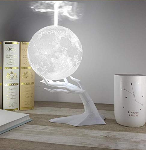 LIGHTYZR Humidifier 3D Moon Lamp Humidifier with LED 3 Colors USB Aromatherapy Diffuser Branch Stand Desk Humidifier