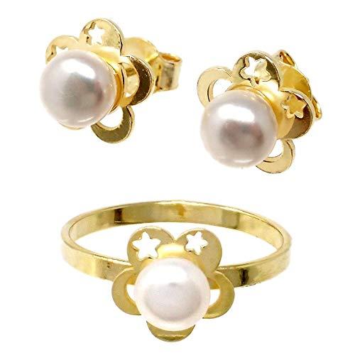 Juego plata Ley 925m chapado oro Primera Comunión sortija pendientes perla flor pétalos calados