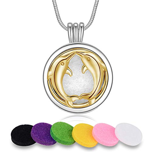 INFUSEU Couple Dolphin Aroma Diffuser Pendant Necklace Essential Oil Aromatherapy Jewelry Set, Engraved I Love You to The Moon and Back
