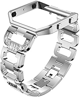 Lyperkin Stainless Steel Band,Compatible with Fitbit Blaze 22mm,for Women and Grils,Rhinestone Bling Replacement Accessory Watch Band Strap Compatible with Fitbit Blaze.