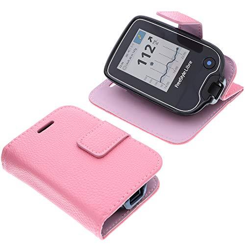foto-kontor Tasche für Abbott Freestyle Libre 2 Book Style pink Schutz Hülle Buch