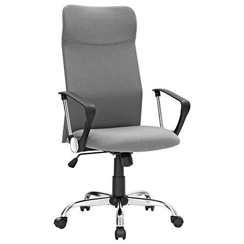 SONGMICS Bürostuhl, ergonomischer Schreibtischstuhl, Drehstuhl, gepolsterter Sitz, Stoffbezug, höhenverstellbar und neigbar, bis 120 kg belastbar, grau OBN034G01