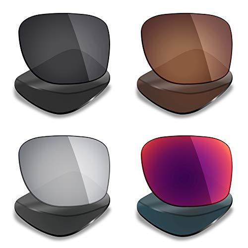 Mryok 4 paires polarisées Lentilles de remplacement pour Oakley Holbrook XL Lunettes de soleil – Stealth Noir Marron/bronze/argenté Titane/soleil de minuit