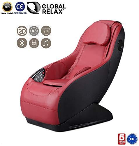GURU® Massage- en relaxstoel - Rood (model 2020) - 3 massagemodi - Surround sound shiatsu 2D - Massagestoel met Bluetooth en USB-systeem - Officiële garantie 5 jaar