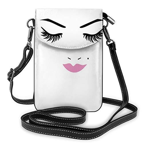 Jiger Women Small Cell Phone Purse Crossbody,Closed Eyes Pink Lipstick Glamor Makeup Cosmetics Beauty Feminine Design