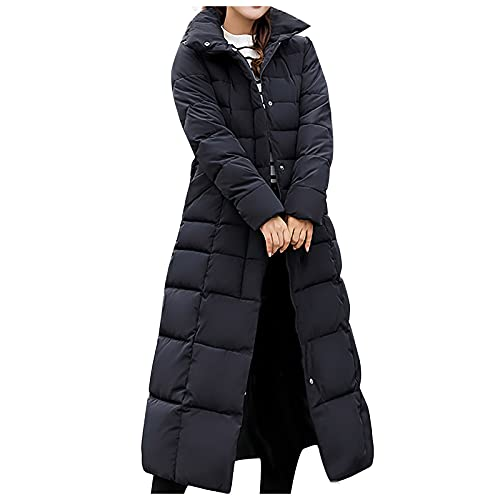 YESMAN Abrigo largo para mujer, grueso, clido, acolchado, con capucha de piel sinttica extrable, Maxi chaqueta de invierno Streetwear Parka con cremallera y capucha informal, Negro, M