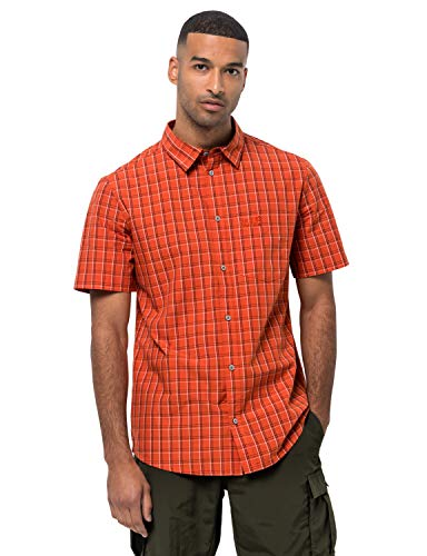 Jack Wolfskin Hot Springs Chemise Homme, Saffron Orange Checks, FR : 2XL (Taille Fabricant : XXL)