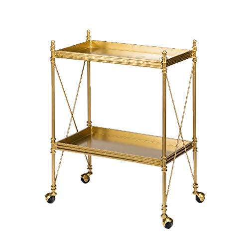 GLXLSBZ Carrito de servicio de coche de hierro forjado de 2 capas de metal para sala de estar, armario de almacenamiento lateral para el hogar o el carro de vino (cómodo para el coche)