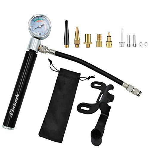Linlook Fahrradpumpe - Mini Fahrrad Pumpe mit 210 PSI Manometer, Luftpumpe mit Halterung and 6 Adapters für Presta und Schrader Ventile,Fahrradluftpumpe für Ballpumpe/Rennrad/Mountainbike/Bälle