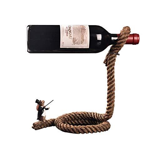 Estante de Vino Personalidad Creativa Conejo Mago Cuerda Estante de Vino Gabinete de Vino Artesanía Decoraciones Estante de Vino