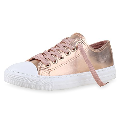 SCARPE VITA Sneakers Low Damen Metallic Turnschuhe Weiße Sohle Flats 160468 Rose Gold 38