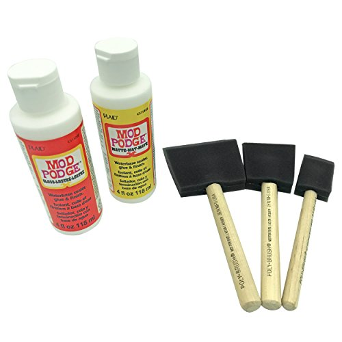 Mod Podge Gloss and Matte Starter Bundle Kit w/Poly Foam Brushes to Paint - Glue...