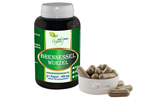 VITAIDEAL VEGAN® Brennessel Wurzel 60 pflanzliche Kapseln je 400 mg, rein natürlich ohne Zusatzstoffe.
