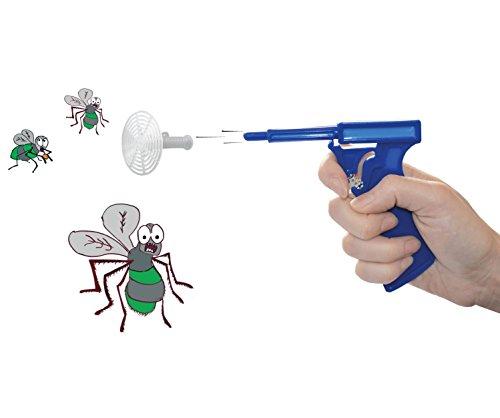 Fliegenpistole - Die Pistole, die Fliegen fängt - funktioniert garantiert - 2 Stück Keine Flecken - Blau/Rot