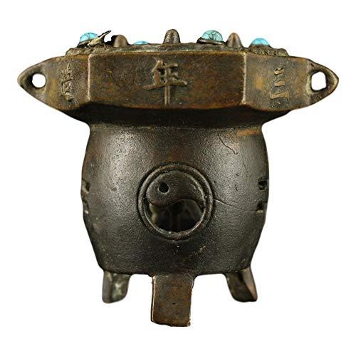 LAOJUNLU Antiguo cobre puro hecho a mano horno de carbono con incrustaciones de gemas de imitación de bronce antiguo colección de joyas de estilo tradicional chino solitario