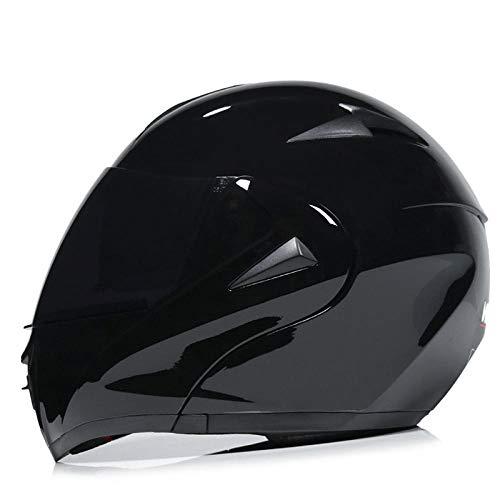 Off-road helm dubbele lenshelm elektrische motorhelm competitie volledige helm-helder zwarte dubbele spiegel 【theespiegel】 lichte, comfortabele en veilige helm_M