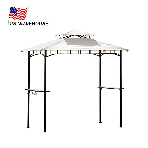 YANGAC 8'x 5' Grill Gazebo Outdoor Tents for Backyard Gazebos for Patios Outdoor Canopy with Double Tiered Soft Canopy Top with Steel Frame and Bar Counters, US Stock,Beige